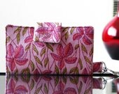 Pink and Green Floral IPhone Wallet/ Case- READY TO SHIP