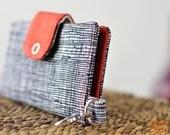 IPhone Wallet / Case Black and Orange Checks
