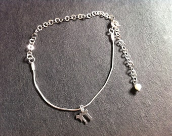 Silver Charm Anklet And A Small Pearl, silvet anklet.