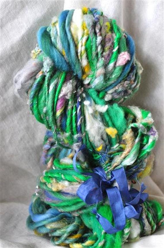 "Handspun Yarn - Bulky Weight Art Yarn, ""Silk Pebbles"""