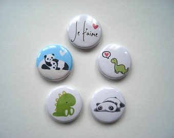 Dinosaur & Panda Love Buttons