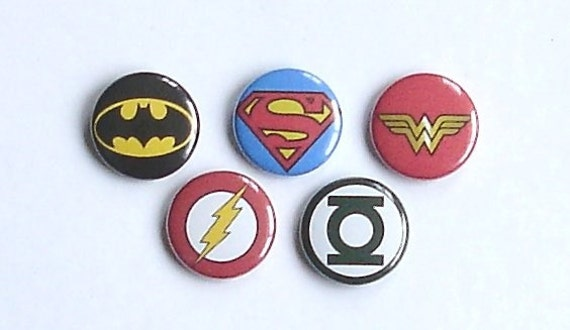 DC Hero Logos Button Pin Set