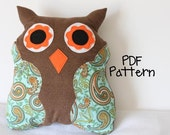 INSTANT DOWNLOAD Ollie the Owl Stuffed Plushie PDF Sewing Pattern
