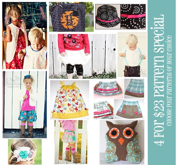 4 for 23 SPECIAL Choose ANY 4 PDF Sewing Patterns for 23 Dollars