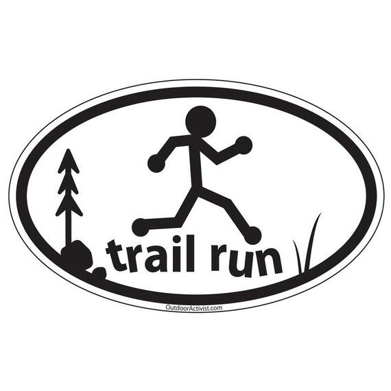 Running Trail Runner Oval Decal Trail Run Offroad Vinyl