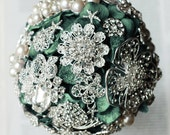 Vintage Bridal Brooch Bouquet - Pearl Rhinestone Crystal - Silver Teal Peacock Green  - One Day RUSH ORDER Availabe - BB009LX