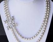 SALE Bridal Pearl Rhinestone Necklace Double Strand Wedding Jewelry Crystal Pendant NK015LX