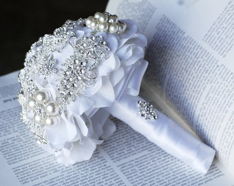Vintage Bridal Brooch Bouquet Pearl Rhinestone Crystal Silver and White One Day RUSH ORDER Available BB002LX
