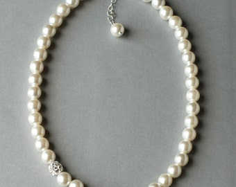 SALE Bridal Pearl Rhinestone Necklace Crystal Wedding Jewelry White or Ivory NK008LX
