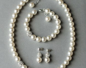 Bridal Pearl Rhinestone Necklace Bracelet Earring Crystal Wedding Jewelry Set White or Ivory Pearl ST001LX
