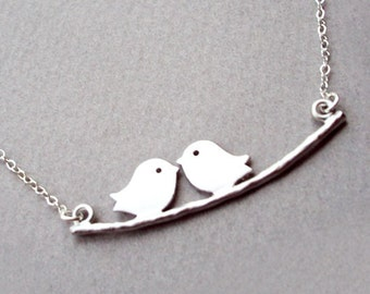 SALE Silver Two Bird Necklace Chick Charm Chic Tree Branch Simple Personalized Everyday Jewelry NK020LX