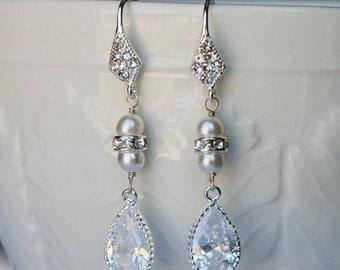 Bridal Earring Wedding Earring Rhinestone Earring Crystal Dangling Earring Pearl Earring Wedding Jewelry Bridal Jewelry ER009LX