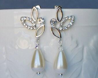 Bridal Earring Wedding Earring Rhinestone Earring Crystal Dangling Earring Pearl Earring Wedding Jewelry Bridal Jewelry ER013LX