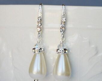 Bridal Earring Wedding Earring Rhinestone Earring Crystal Dangling Earring Pearl Earring Wedding Jewelry Bridal Jewelry ER020LX