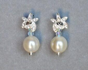 Bridal Earring Wedding Earring Rhinestone Earring Crystal Dangling Earring Pearl Earring Wedding Jewelry Bridal Jewelry ER022LX