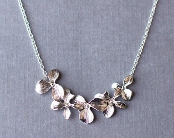 Five Orchid Necklace with Sterling Silver Chain Simple Personalized Everyday Jewelry NK018LX