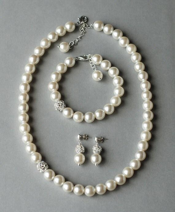 Bridal Pearl Rhinestone Necklace Bracelet Earring Crystal Wedding Jewelry Set White or Ivory Pearl ST001LX