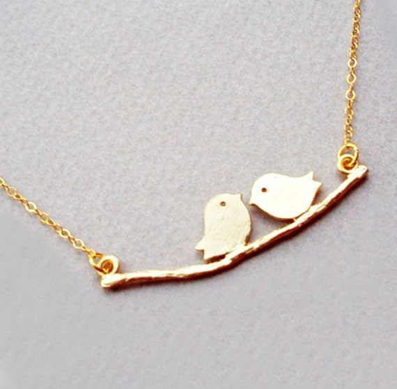 SALE Two Bird Necklace Chick Charm Chic Tree Branch with Gold Chain Simple Personalized Everyday Jewelry NK028LX