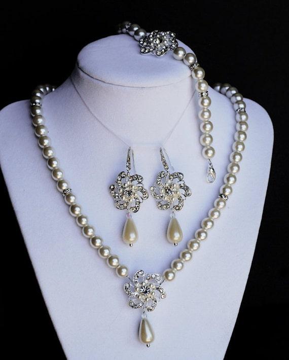 Bridal Pearl Rhinestone Necklace Bracelet Earring Crystal Wedding Jewelry Set ST004LX