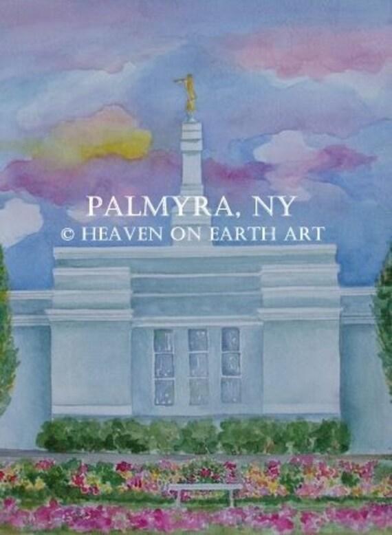 Watercolor print , Palmyra, New York Temple-11x14