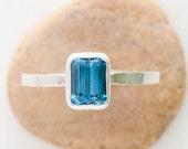Sky Blue Topaz Handmade Silver Bezel Setting Ring - CUSTOM MADE