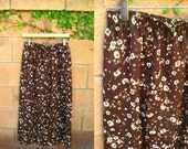 RESERVED for Rach5551- 80s Brown High-Waisted Maxi Midi Skirt with White Flowers