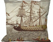 Antique Sailing Ship Image in Choice of 14x14 16x16 18x18 20x20 22x22 24x24 26x26 inch Pillow Cover
