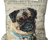 Pug Dog on French Document in Choice of 14x14 16x16 18x18 20x20 22x22 24x24 26x26 inch Pillow Cover