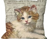 Kitten on French Document Pillow Cover