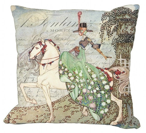 Lady Upon Her Stallion Art Nouveau Illustration on a French Invoice in Choice of 14x14 16x16 18x18 20x20 22x22 24x24 26x26 inch Pillow Cover