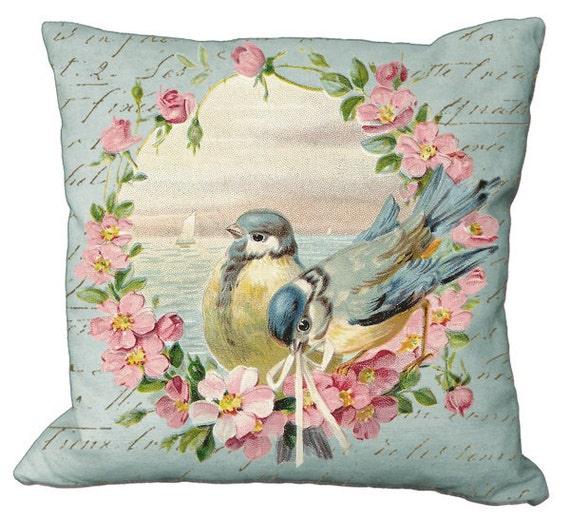 Pink Blossom Framed Bird Pair Choice of 14x14 16x16 18x18 20x20 22x22 24x24 26x26 inch Pillow Cover