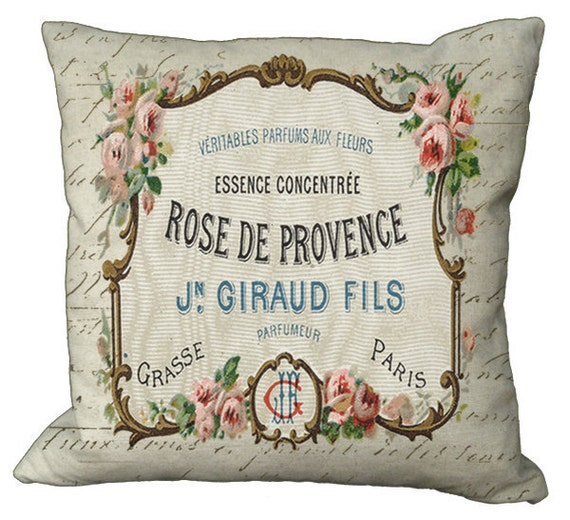 French Rose Natural Perfume Label Choice of 14x14 16x16 18x18 20x20 22x22 24x24 26x26 inch Pillow Cover