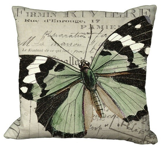 Black White & Green Butterfly Pillow Cover in Choice of 14x14 16x16 18x18 20x20 22x22 24x24 26x26 inch Pillow Cover