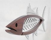 Metal and Wood Mackerel Sculpture