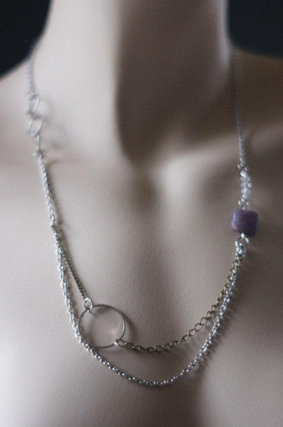 Multi-chain Necklace with Swarovski Crystals and Lapidolite Stone