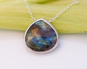 Faceted Bezel Set Natural Labradorite Necklace - Sterling Silver Chain