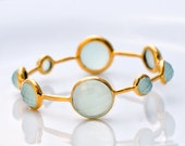 18K  Gold Plated Faceted Aqua Blue Chalcedony Bracelet - Mothers Day Sale