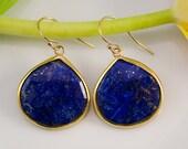 Lapis Earrings - Gem Earrings - Navy Blue earrings - gold earrings - something blue- September Birthstone