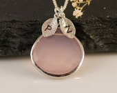 October Birthstone Jewelry- Personalized Necklace - Pink Chalcedony Necklace -  Personalized Jewelry - Custom Stamp Initials