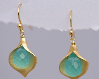 Blue Quartz Earrings - Calla Lily Earrings - Gold Earrings - Nature Inspired Jewelry