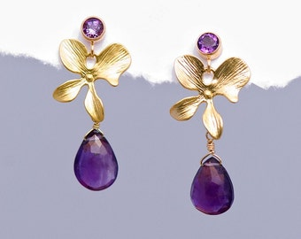 Faceted Amethyst drop with Matte Finished 16K Gold Plating Orchid Flowers