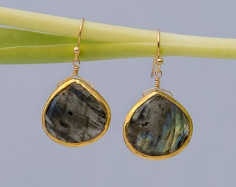 Labradorite Earrings - Bezel set earrings - Gemstone earrings - gold earrings