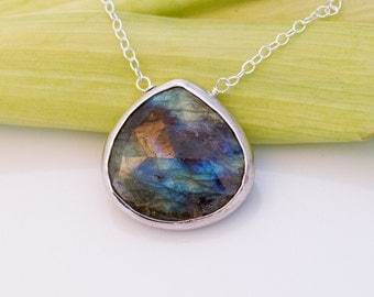 Faceted Bezel Set Natural Labradorite Necklace - Sterling Silver Chain