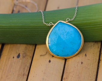 Blue Turquoise Necklace - Gold Chain Necklace - Layering Necklace - December Birthstone Jewelry - Stone Pendant - Boho Necklace