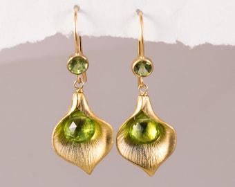 Peridot Earrings - August Birthstone Earrings - Calla Lily Earrings - Gold Earrings - Nature Inspired Jewelry
