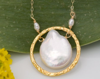 Natural white coin pearl stone and 22k Gold Vermeil Necklace with white freshwater pearls