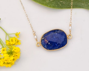 Large Faceted Bezel set Blue Lapis stone in 22k Gold Vermeil  Necklace with Freshwater White Pearls- September Birthstone -