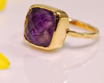 Purple Amethyst Ring - February Birthstone Ring - Solitaire Ring - Stacking Ring - Gold Plated - Cushion Cut Ring