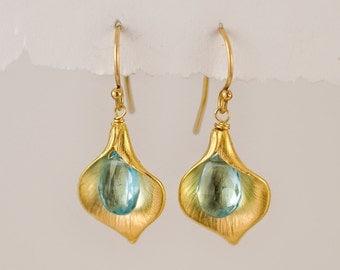 Blue Topaz Earrings - December Birthstone Earrings - Calla Lily Earrings - Gold Earrings - Nature Inspired Jewelry