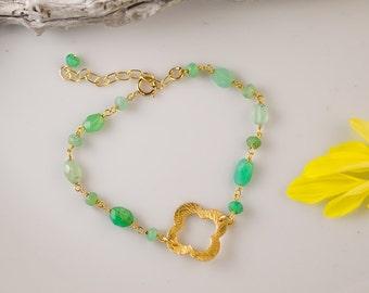 Chrysoprase Bracelet - Gold Four Leaf Clover Bracelet - Gold bracelet - Wire wrapped bracelet -